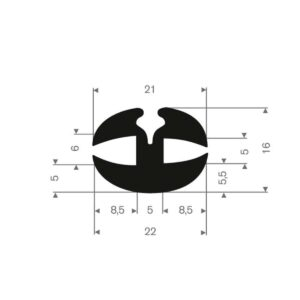 rudeprofil 22x16 mm fast gummi