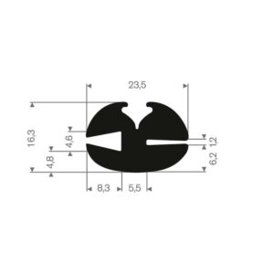 rudeprofil 23x16 mm fast gummi
