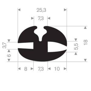 rudeprofil 25,3x18 mm fast gummi