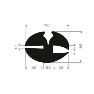 rudeprofil 25,5x18,5 mm fast gummi
